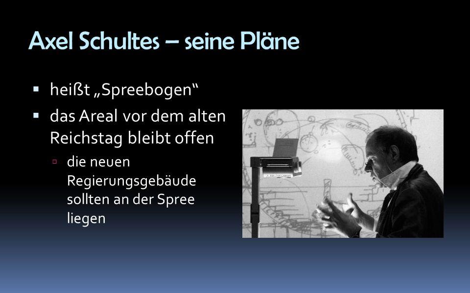 Axel Schultes – seine Pläne heißt Spreebogen das Areal vor dem alten Reichstag bleibt offen die neuen Regierungsgebäude sollten an der Spree liegen