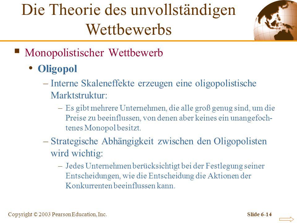 Copyright © 2003 Pearson Education, Inc.Slide 6-14 Monopolistischer Wettbewerb Oligopol –Interne Skaleneffekte erzeugen eine oligopolistische Marktstruktur: –Es gibt mehrere Unternehmen, die alle groß genug sind, um die Preise zu beeinflussen, von denen aber keines ein unangefoch- tenes Monopol besitzt.