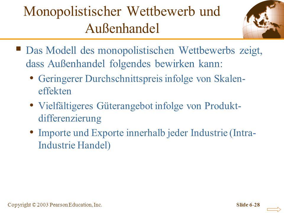 Copyright © 2003 Pearson Education, Inc.Slide 6-28 Das Modell des monopolistischen Wettbewerbs zeigt, dass Außenhandel folgendes bewirken kann: Geringerer Durchschnittspreis infolge von Skalen- effekten Vielfältigeres Güterangebot infolge von Produkt- differenzierung Importe und Exporte innerhalb jeder Industrie (Intra- Industrie Handel) Monopolistischer Wettbewerb und Außenhandel