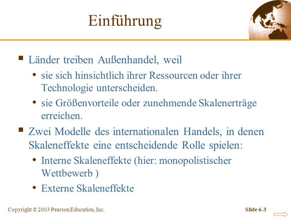 Copyright © 2003 Pearson Education, Inc.Slide 6-34 Abbildung 6-5: Fortsetzung Monopolistischer Wettbewerb und Außenhandel