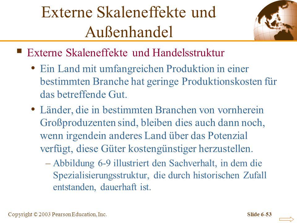 Copyright © 2003 Pearson Education, Inc.Slide 6-53 Externe Skaleneffekte und Handelsstruktur Ein Land mit umfangreichen Produktion in einer bestimmten Branche hat geringe Produktionskosten für das betreffende Gut.