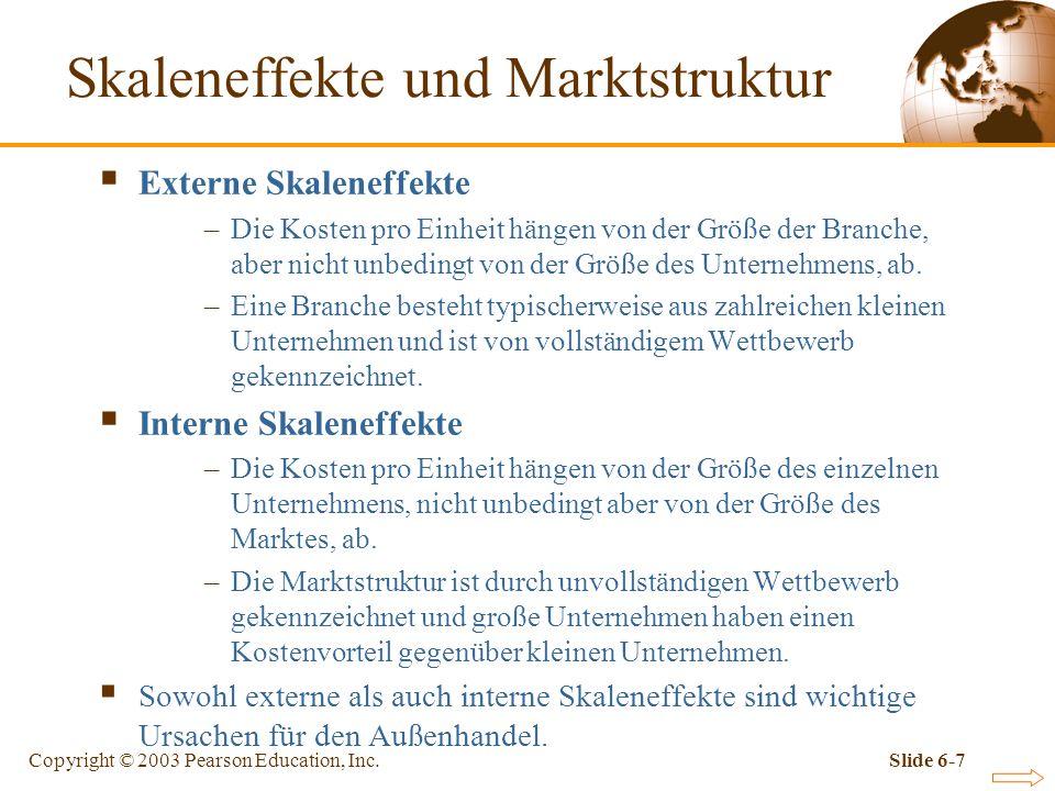 Copyright © 2003 Pearson Education, Inc.Slide 6-7 Skaleneffekte und Marktstruktur Externe Skaleneffekte –Die Kosten pro Einheit hängen von der Größe der Branche, aber nicht unbedingt von der Größe des Unternehmens, ab.