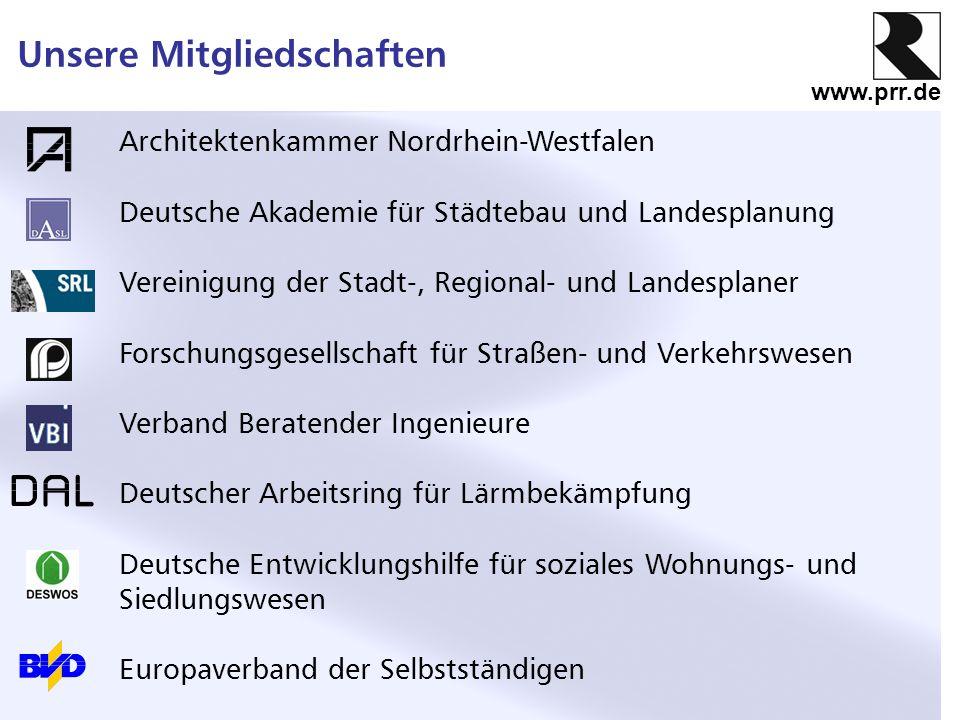 www.prr.de Unsere Mitgliedschaften Architektenkammer Nordrhein-Westfalen Deutsche Akademie für Städtebau und Landesplanung Vereinigung der Stadt-, Reg