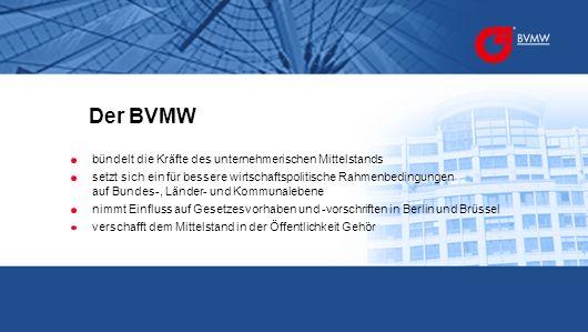 Politische Interessenvertretung Persönliche Betreuung Kommunikationsplattform Der BVMW ist für Sie da