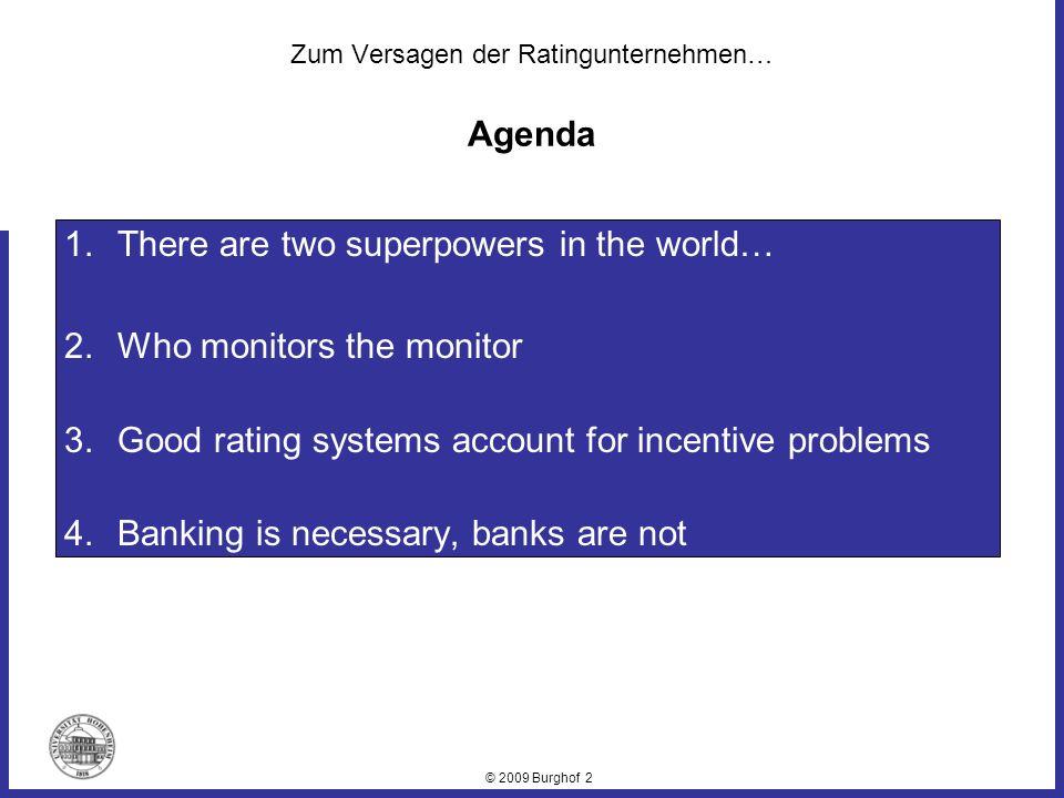 © 2009 Burghof 3 Unverbindliche Meinungsäußerung Zentrale und mächtige Kapitalmarktinstanz Bedarf an hochaggregierten, unkomplexen Informationen aus anerkannter und neutraler Quelle Kein Kapitalmarktzugang ohne Rating.