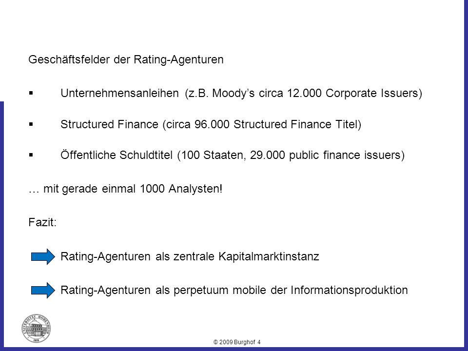 © 2009 Burghof 4 Geschäftsfelder der Rating-Agenturen Unternehmensanleihen (z.B. Moodys circa 12.000 Corporate Issuers) Structured Finance (circa 96.0