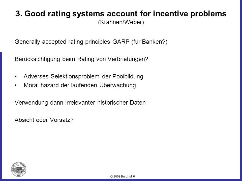 © 2009 Burghof 7 Rolle der Rating-Agenturen im Verbriefungskarussel Unterstützung bei der Strukturierung der Finanztitel Rating der Finanztitel Ratingdruck auf potenzielle Investoren … als hochattraktives Verdienstmodell Hohe kurzfristige Gewinne bei Fehlverhalten Fehlender Wettbewerb Konsequenz: Versagen der Marktkontrolle Rating für das Monitoring der Monitoren Rating-Agentur: C (Moodys) D (Standard & Poors) D(Fitch)
