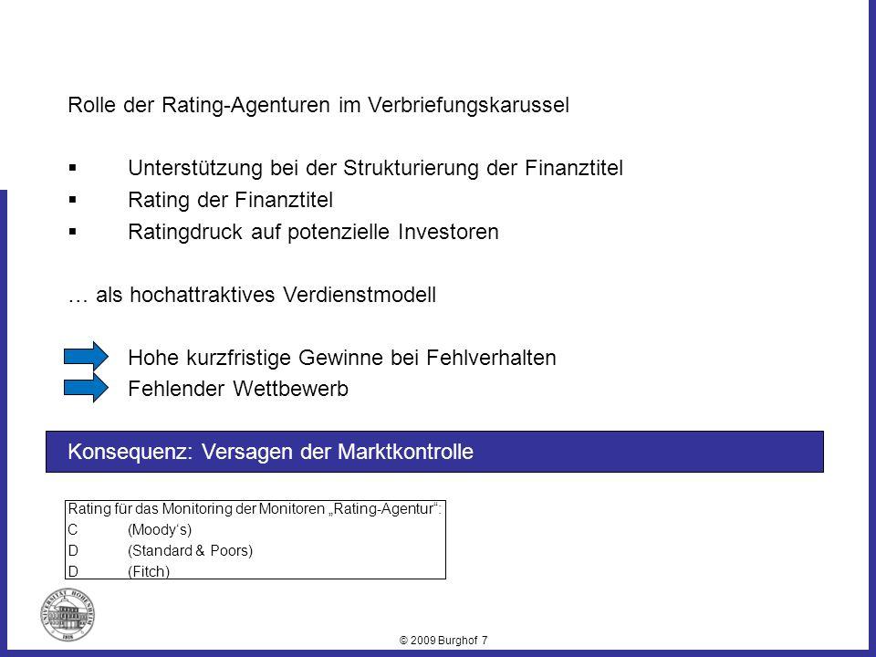 © 2009 Burghof 7 Rolle der Rating-Agenturen im Verbriefungskarussel Unterstützung bei der Strukturierung der Finanztitel Rating der Finanztitel Rating
