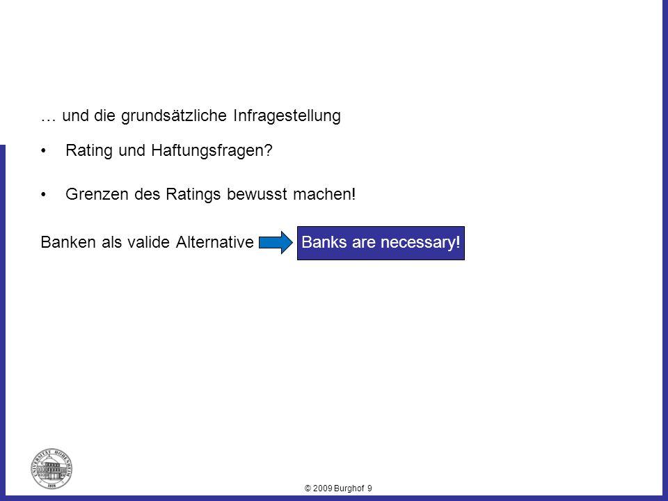 © 2009 Burghof 9 … und die grundsätzliche Infragestellung Rating und Haftungsfragen? Grenzen des Ratings bewusst machen! Banken als valide Alternative