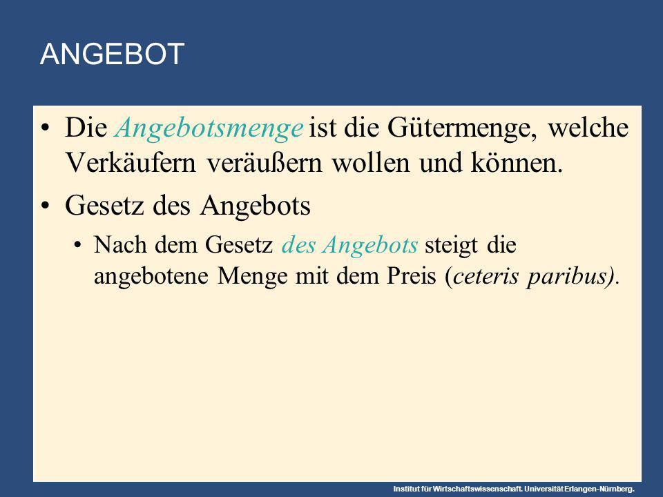 Institut für Wirtschaftswissenschaft. Universität Erlangen-Nürnberg. ANGEBOT Die Angebotsmenge ist die Gütermenge, welche Verkäufern veräußern wollen