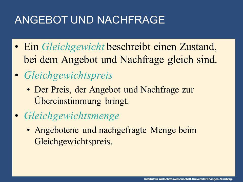 Institut für Wirtschaftswissenschaft. Universität Erlangen-Nürnberg. ANGEBOT UND NACHFRAGE Ein Gleichgewicht beschreibt einen Zustand, bei dem Angebot