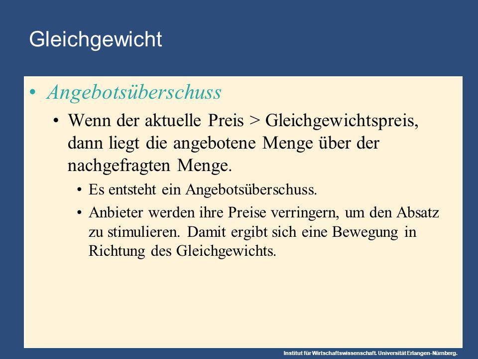 Institut für Wirtschaftswissenschaft. Universität Erlangen-Nürnberg. Gleichgewicht Angebotsüberschuss Wenn der aktuelle Preis > Gleichgewichtspreis, d