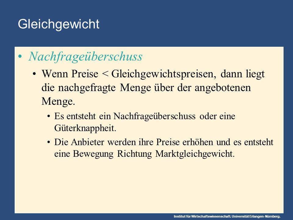 Institut für Wirtschaftswissenschaft. Universität Erlangen-Nürnberg. Gleichgewicht Nachfrageüberschuss Wenn Preise < Gleichgewichtspreisen, dann liegt