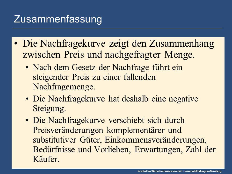 Institut für Wirtschaftswissenschaft. Universität Erlangen-Nürnberg. Zusammenfassung Die Nachfragekurve zeigt den Zusammenhang zwischen Preis und nach