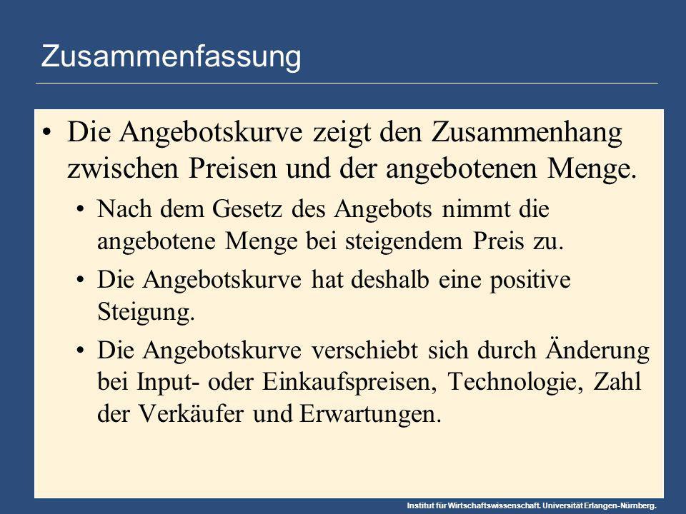 Institut für Wirtschaftswissenschaft. Universität Erlangen-Nürnberg. Zusammenfassung Die Angebotskurve zeigt den Zusammenhang zwischen Preisen und der