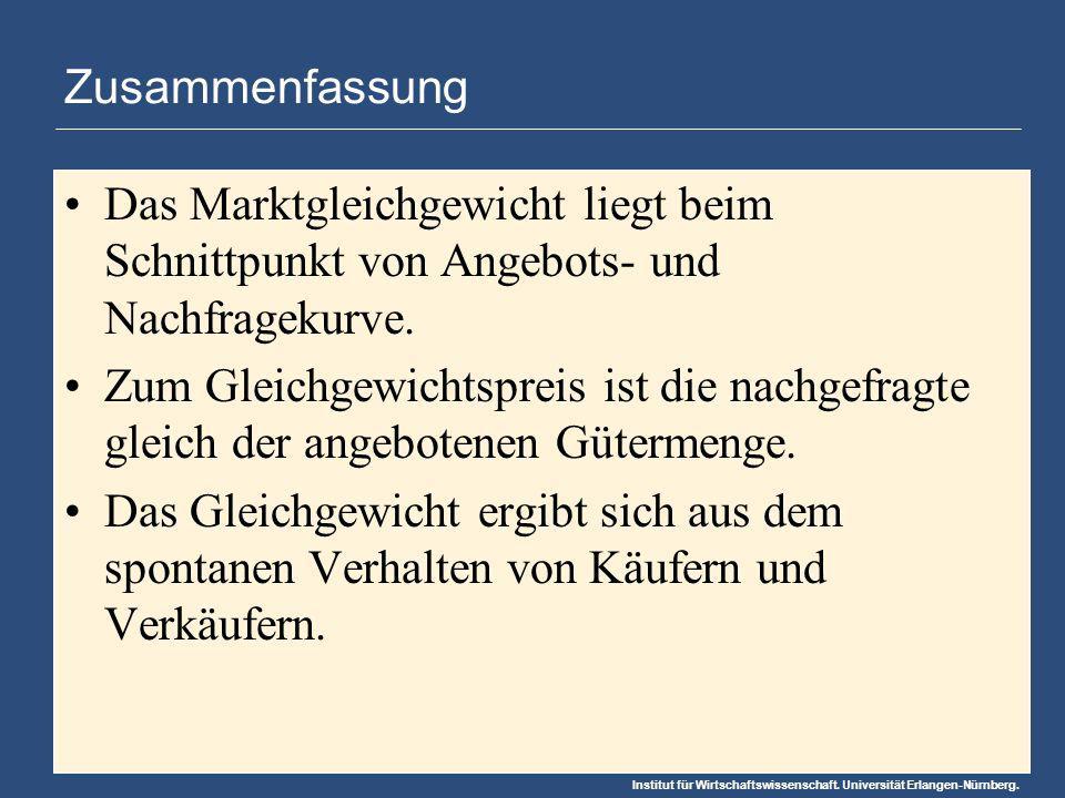 Institut für Wirtschaftswissenschaft. Universität Erlangen-Nürnberg. Zusammenfassung Das Marktgleichgewicht liegt beim Schnittpunkt von Angebots- und