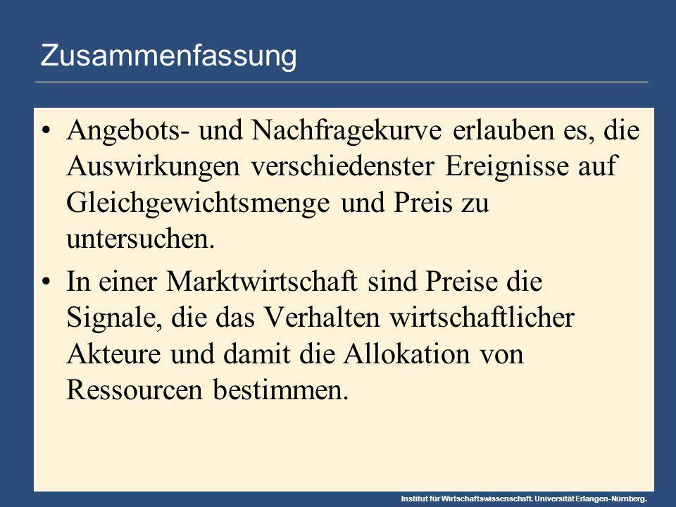 Institut für Wirtschaftswissenschaft. Universität Erlangen-Nürnberg. Zusammenfassung Angebots- und Nachfragekurve erlauben es, die Auswirkungen versch