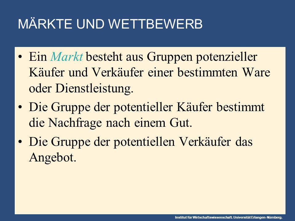 Institut für Wirtschaftswissenschaft. Universität Erlangen-Nürnberg. Ein Markt besteht aus Gruppen potenzieller Käufer und Verkäufer einer bestimmten