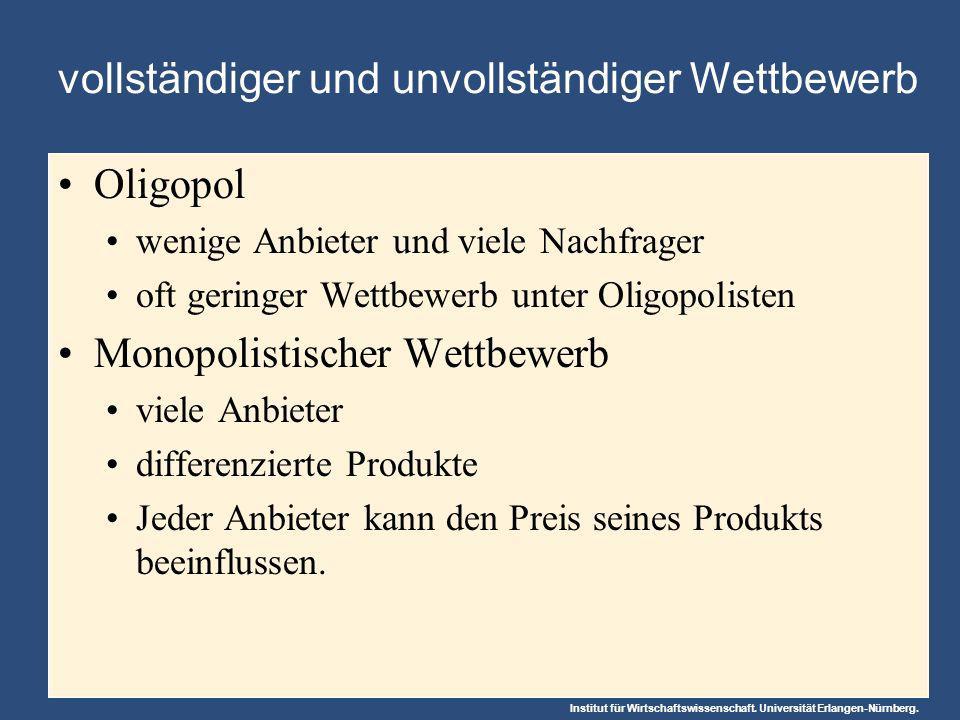 Institut für Wirtschaftswissenschaft. Universität Erlangen-Nürnberg. Oligopol wenige Anbieter und viele Nachfrager oft geringer Wettbewerb unter Oligo
