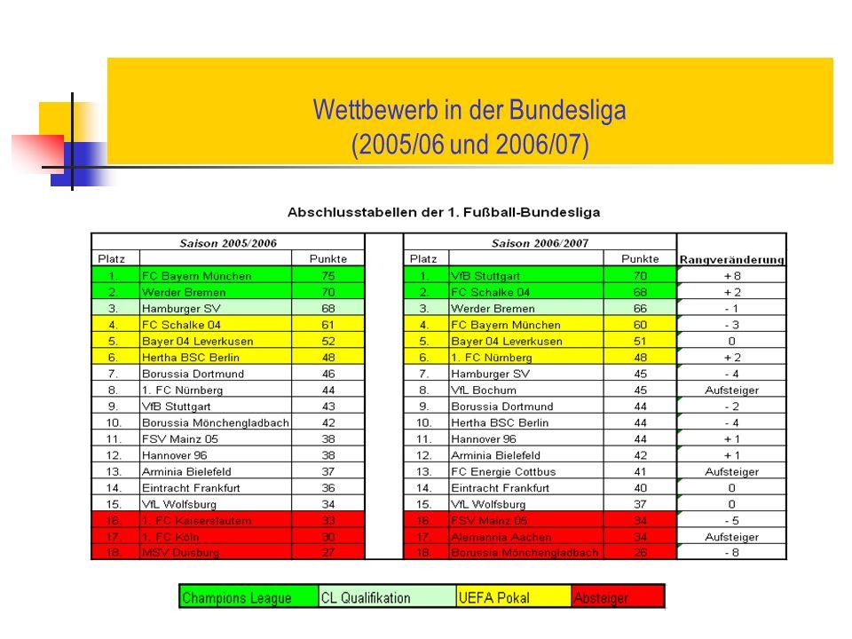Wettbewerb in der Bundesliga (2005/06 und 2006/07)
