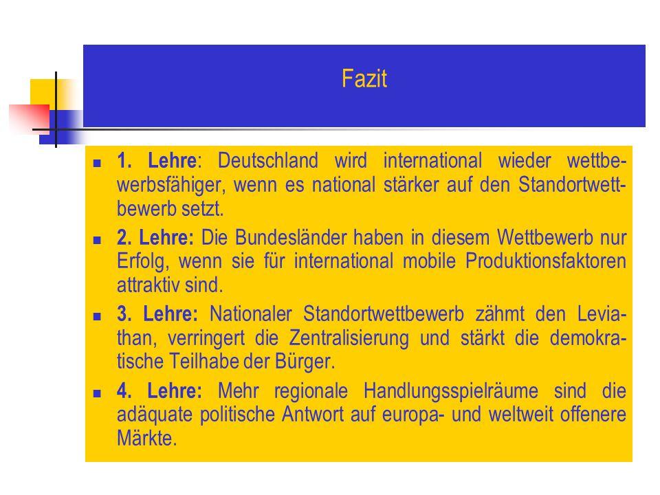 Fazit 1. Lehre : Deutschland wird international wieder wettbe- werbsfähiger, wenn es national stärker auf den Standortwett- bewerb setzt. 2. Lehre: Di