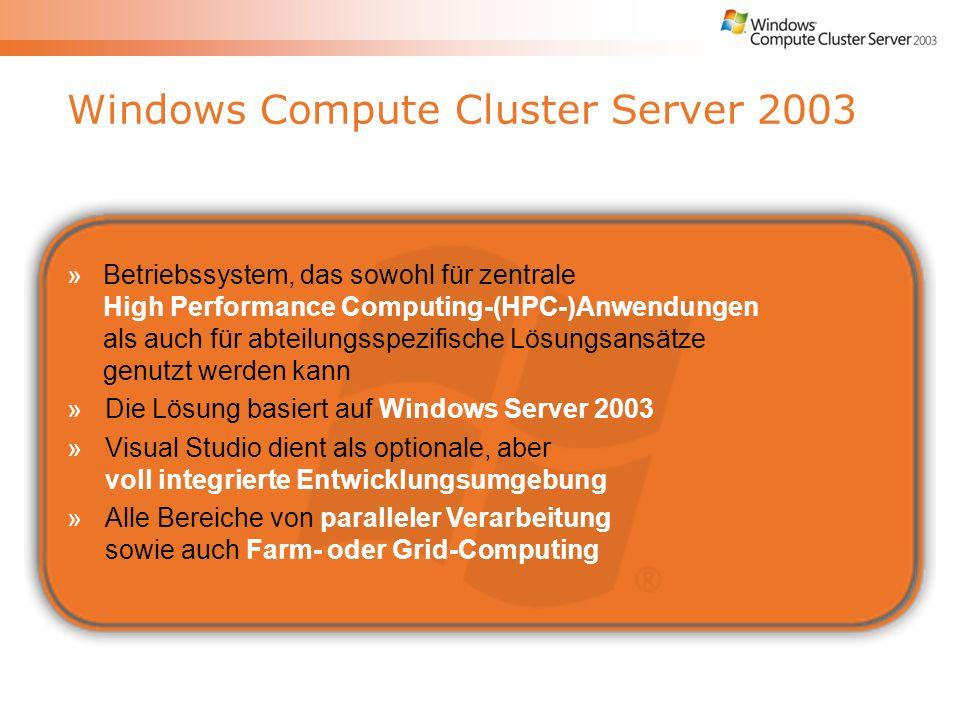 Windows Compute Cluster Server 2003 »Betriebssystem, das sowohl für zentrale High Performance Computing-(HPC-)Anwendungen als auch für abteilungsspezifische Lösungsansätze genutzt werden kann »Die Lösung basiert auf Windows Server 2003 »Visual Studio dient als optionale, aber voll integrierte Entwicklungsumgebung »Alle Bereiche von paralleler Verarbeitung sowie auch Farm- oder Grid-Computing