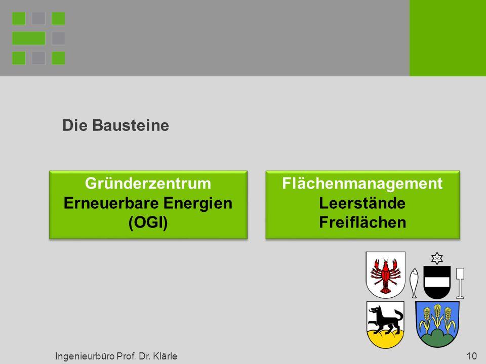 Ingenieurbüro Prof. Dr. Klärle 10 Die Bausteine Gründerzentrum Erneuerbare Energien (OGI) Gründerzentrum Erneuerbare Energien (OGI) Flächenmanagement