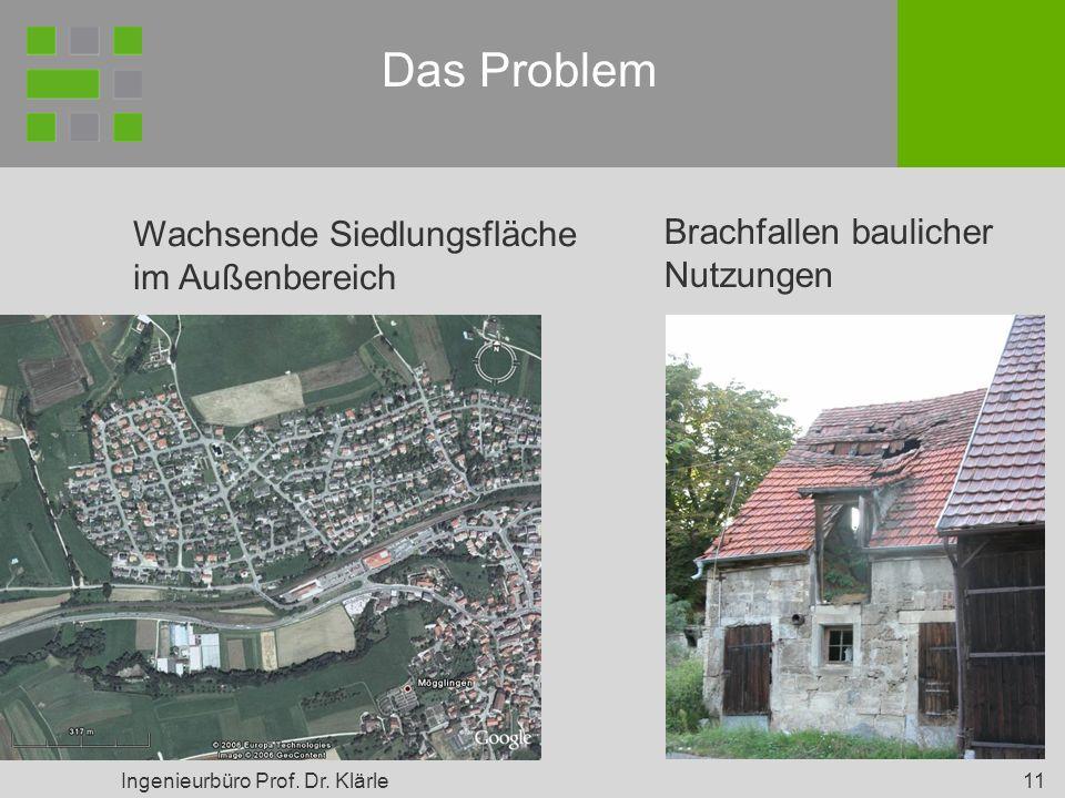 Ingenieurbüro Prof. Dr. Klärle 11 Das Problem Wachsende Siedlungsfläche im Außenbereich Brachfallen baulicher Nutzungen