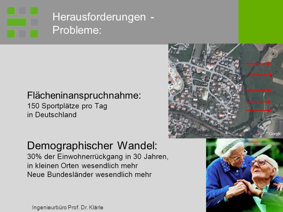 Ingenieurbüro Prof. Dr. Klärle 12 Flächeninanspruchnahme: 150 Sportplätze pro Tag in Deutschland Demographischer Wandel: 30% der Einwohnerrückgang in