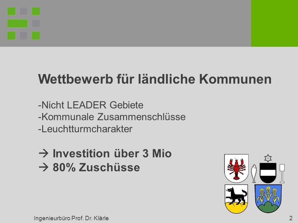 Ingenieurbüro Prof. Dr. Klärle 2 Wettbewerb für ländliche Kommunen -Nicht LEADER Gebiete -Kommunale Zusammenschlüsse -Leuchtturmcharakter Investition