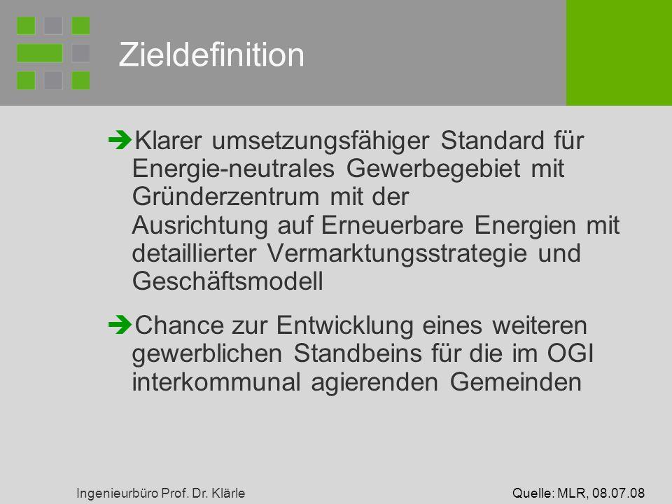 Ingenieurbüro Prof. Dr. Klärle Zieldefinition Klarer umsetzungsfähiger Standard für Energie-neutrales Gewerbegebiet mit Gründerzentrum mit der Ausrich