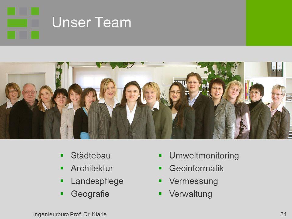 Ingenieurbüro Prof. Dr. Klärle 24 Unser Team Städtebau Architektur Landespflege Geografie Umweltmonitoring Geoinformatik Vermessung Verwaltung