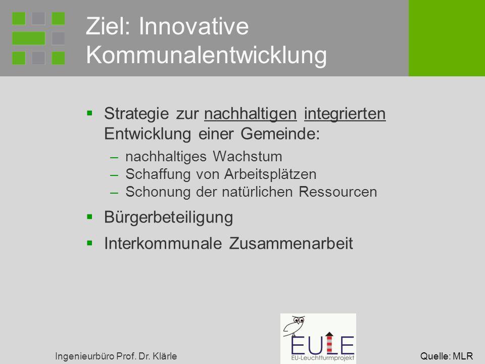 Ingenieurbüro Prof. Dr. Klärle Ziel: Innovative Kommunalentwicklung Strategie zur nachhaltigen integrierten Entwicklung einer Gemeinde: –nachhaltiges