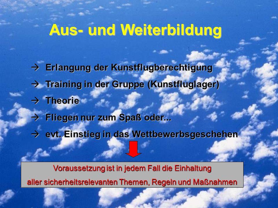 Aus- und Weiterbildung Erlangung der Kunstflugberechtigung Erlangung der Kunstflugberechtigung Training in der Gruppe (Kunstfluglager) Training in der