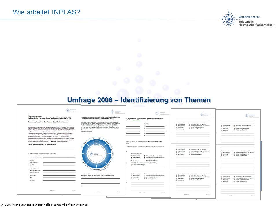 © 2007 Kompetenznetz Industrielle Plasma-Oberflächentechnik Projektideen sammeln: Fachmeinungen und Umfragen Projektideen sammeln: Fachmeinungen und U