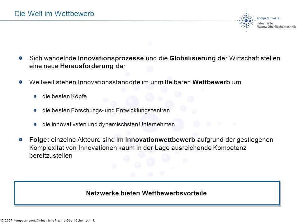 © 2007 Kompetenznetz Industrielle Plasma-Oberflächentechnik Die Welt im Wettbewerb Sich wandelnde Innovationsprozesse und die Globalisierung der Wirts