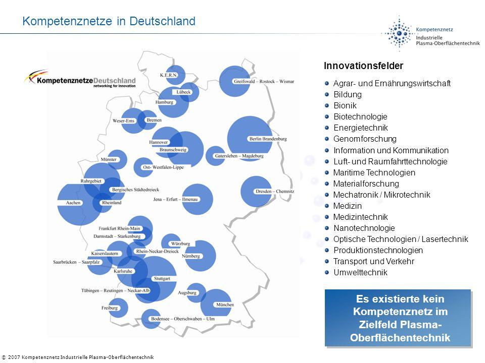 © 2007 Kompetenznetz Industrielle Plasma-Oberflächentechnik Kompetenznetze in Deutschland Innovationsfelder Agrar- und Ernährungswirtschaft Bildung Bi