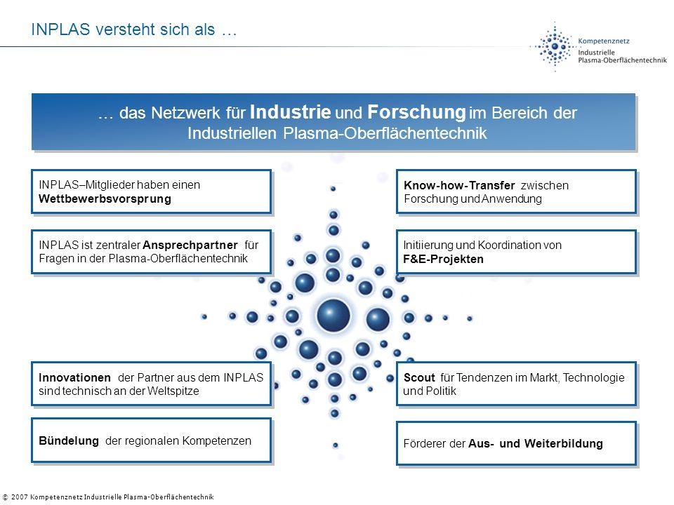 © 2007 Kompetenznetz Industrielle Plasma-Oberflächentechnik … das Netzwerk für Industrie und Forschung im Bereich der Industriellen Plasma-Oberflächen