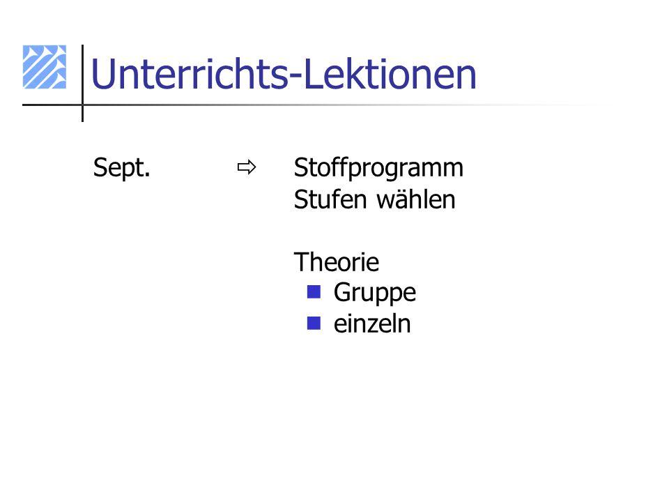 Unterrichts-Lektionen Sept. Stoffprogramm Stufen wählen Theorie Gruppe einzeln
