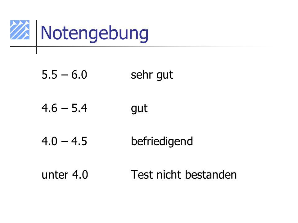Notengebung 5.5 – 6.0sehr gut 4.6 – 5.4gut 4.0 – 4.5befriedigend unter 4.0Test nicht bestanden