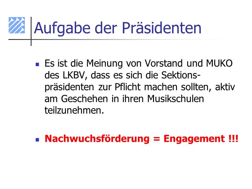 Aufgabe der Präsidenten Es ist die Meinung von Vorstand und MUKO des LKBV, dass es sich die Sektions- präsidenten zur Pflicht machen sollten, aktiv am