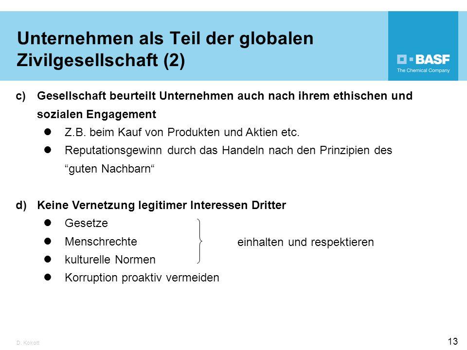 D. Kokott 13 Unternehmen als Teil der globalen Zivilgesellschaft (2) c)Gesellschaft beurteilt Unternehmen auch nach ihrem ethischen und sozialen Engag