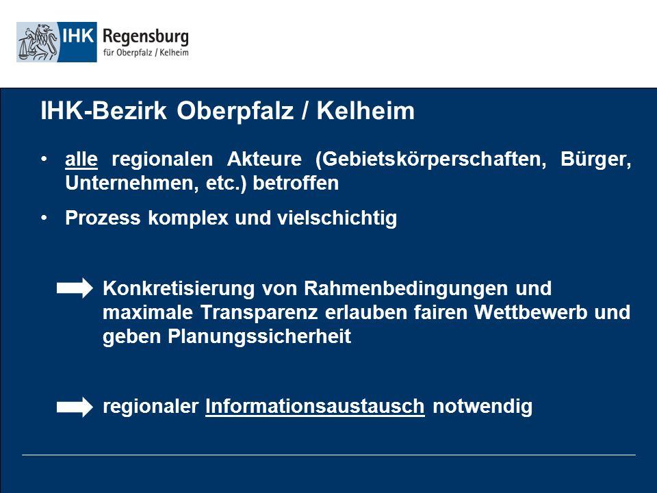 IHK-Bezirk Oberpfalz / Kelheim alle regionalen Akteure (Gebietskörperschaften, Bürger, Unternehmen, etc.) betroffen Prozess komplex und vielschichtig Konkretisierung von Rahmenbedingungen und maximale Transparenz erlauben fairen Wettbewerb und geben Planungssicherheit regionaler Informationsaustausch notwendig