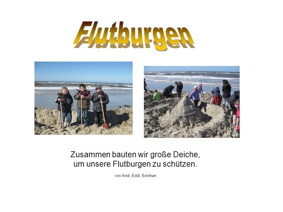 Zusammen bauten wir große Deiche, um unsere Flutburgen zu schützen. von Andi, Eddi, Emirhan