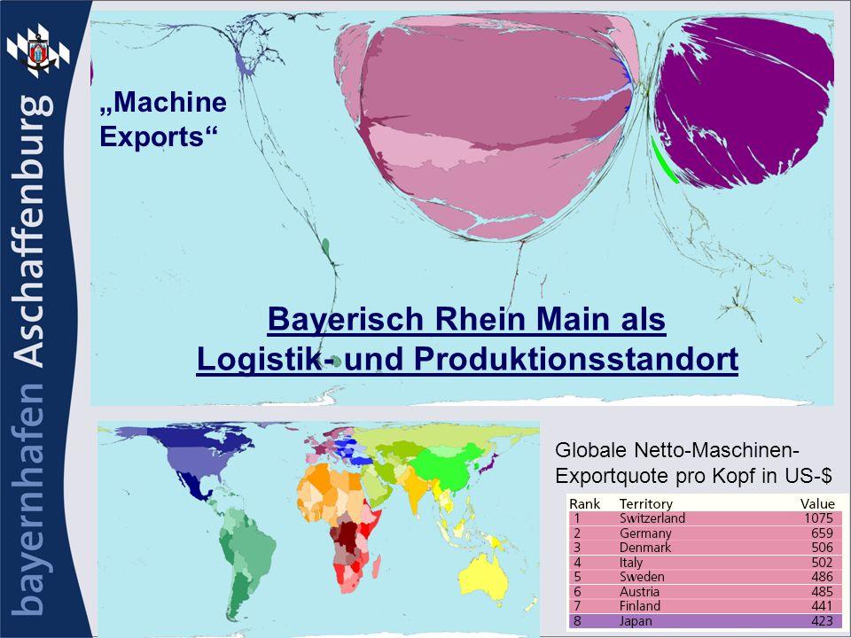 Globale Netto-Maschinen- Exportquote pro Kopf in US-$ Machine Exports Bayerisch Rhein Main als Logistik- und Produktionsstandort