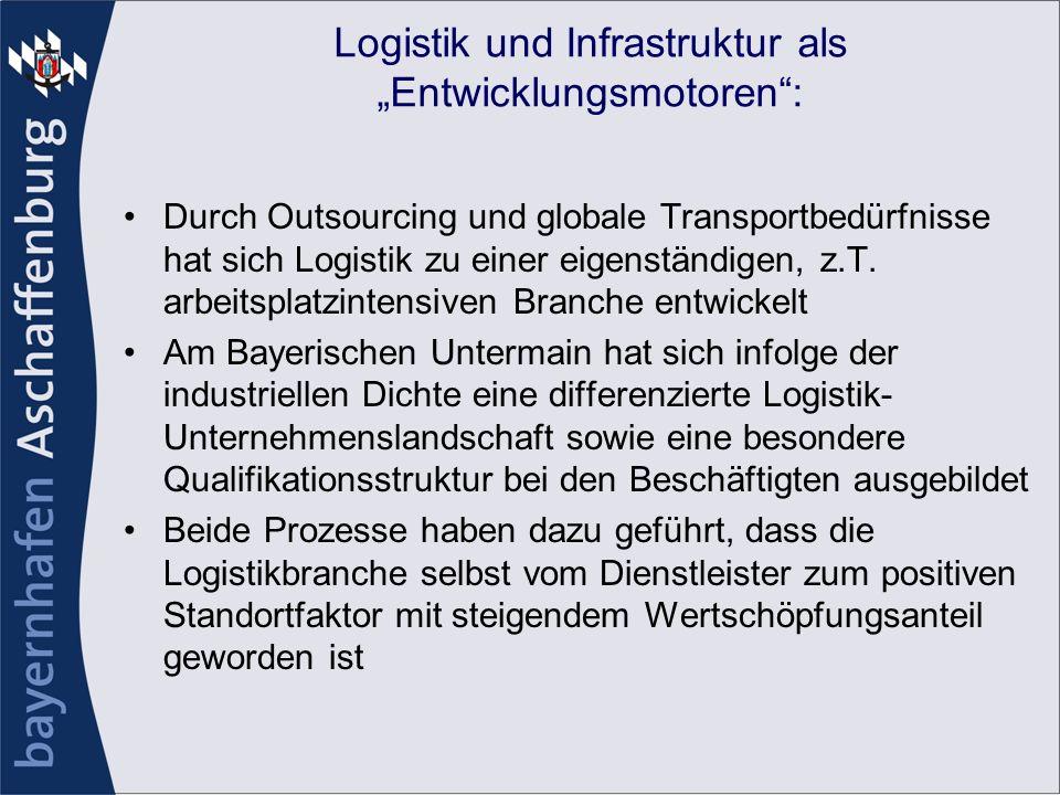Logistik und Infrastruktur als Entwicklungsmotoren: Durch Outsourcing und globale Transportbedürfnisse hat sich Logistik zu einer eigenständigen, z.T.
