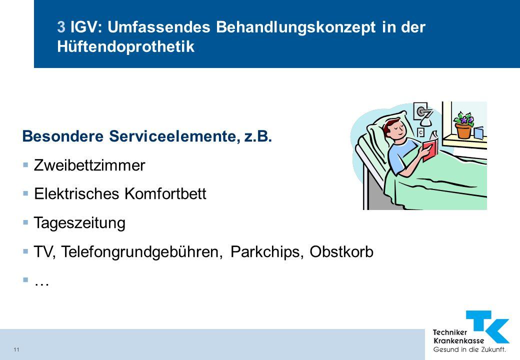 11 3 IGV: Umfassendes Behandlungskonzept in der Hüftendoprothetik Besondere Serviceelemente, z.B. Zweibettzimmer Elektrisches Komfortbett Tageszeitung