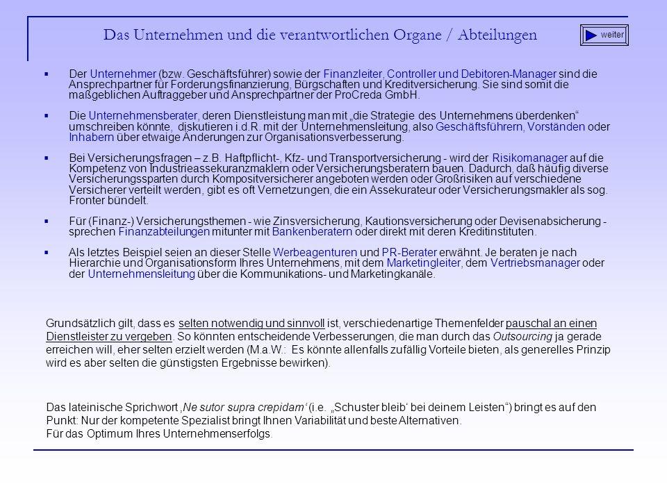 Das Unternehmen und die verantwortlichen Organe / Abteilungen Der Unternehmer (bzw.