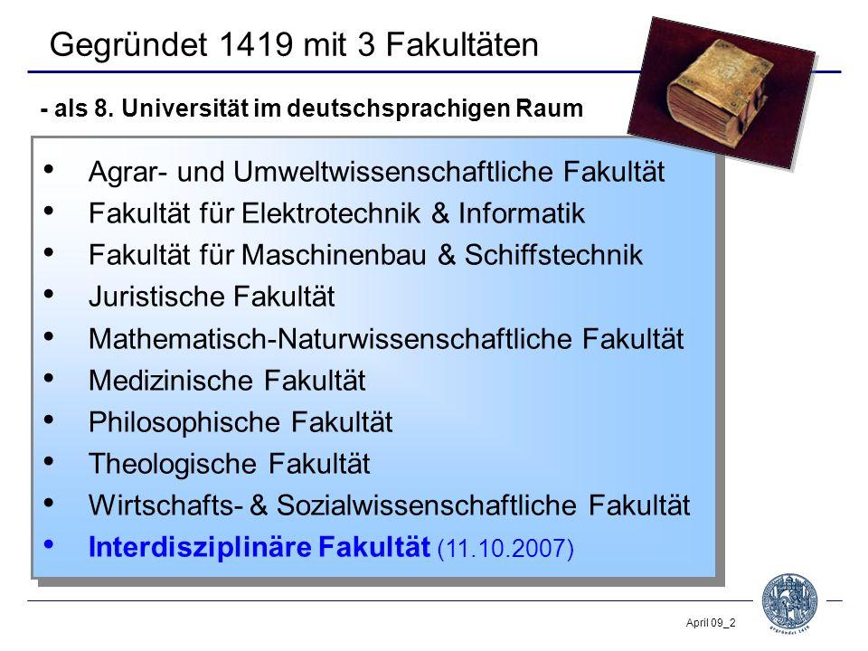 April 09_2 Gegründet 1419 mit 3 Fakultäten Agrar- und Umweltwissenschaftliche Fakultät Fakultät für Elektrotechnik & Informatik Fakultät für Maschinen