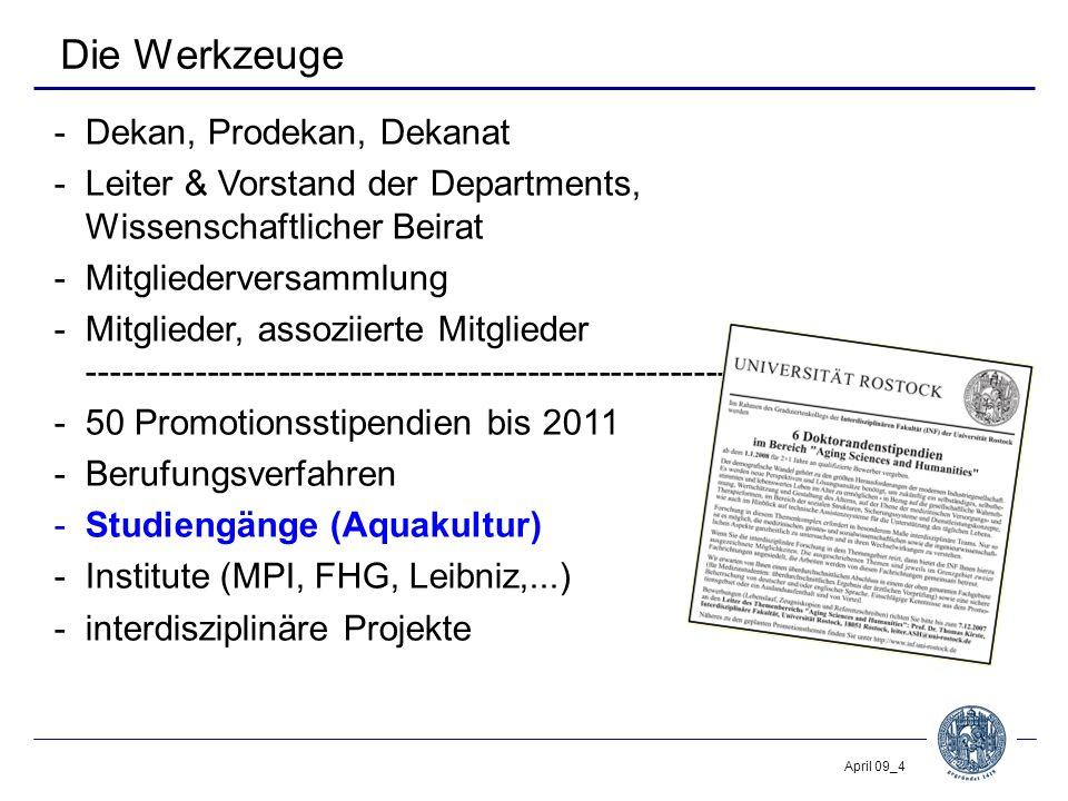 April 09_4 Die Werkzeuge -Dekan, Prodekan, Dekanat -Leiter & Vorstand der Departments, Wissenschaftlicher Beirat -Mitgliederversammlung -Mitglieder, a